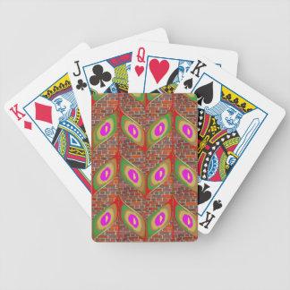 Abstrakter Blattentwurf auf brickwall Bicycle Spielkarten