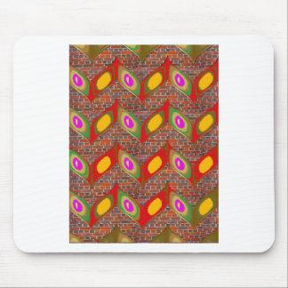 Abstrakter Blattentwurf auf Ziegelsteinwand Mousepad