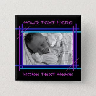 Abstrakter Blau und Indigo Feld-Knopf Quadratischer Button 5,1 Cm