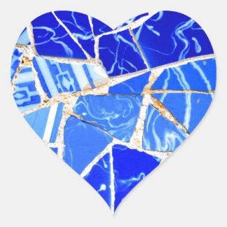 Abstrakter blauer Hintergrund Herz-Aufkleber