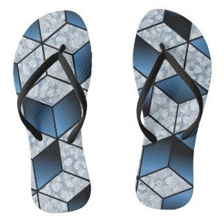 Abstrakter blauer Kubikeffekt-Entwurf Flip Flops