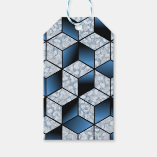 Abstrakter blauer Kubikeffekt-Entwurf Geschenkanhänger