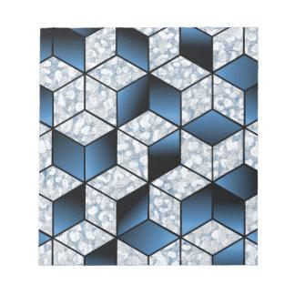Abstrakter blauer Kubikeffekt-Entwurf Notizblock