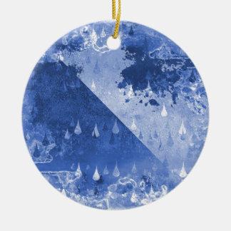 Abstrakter blauer Regen-Tropfen-Entwurf Keramik Ornament
