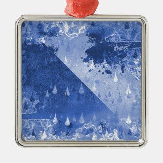Abstrakter blauer Regen-Tropfen-Entwurf Silbernes Ornament