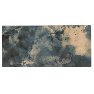 Abstrakter blauer Watercolorhintergrund Holz USB Stick