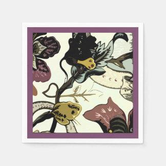 Abstrakter Blumendruck lila Serviette