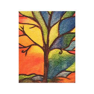 Abstrakter bunter Baum-beflecktes Glas-Effekt Leinwanddruck