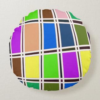 Abstrakter bunter Fliesen-Entwurf Rundes Kissen