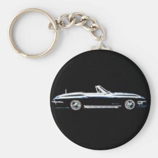 Abstrakter Chevrolet Corvette Stingray 1965 Keych Standard Runder Schlüsselanhänger