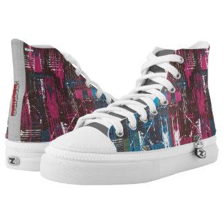 Abstrakter Druck Zipz hohe Spitzenschuhe, Unisex Hoch-geschnittene Sneaker