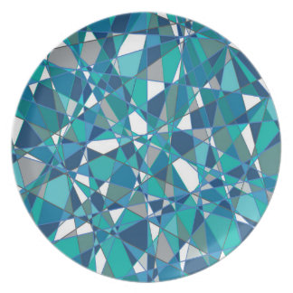Abstrakter Entwurf Blaues und Weiß-beflecktes Glas Melaminteller