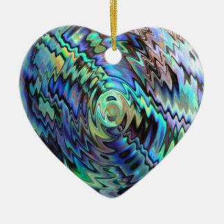 Abstrakter Entwurf des blauen Grüns der Paua Keramik Ornament