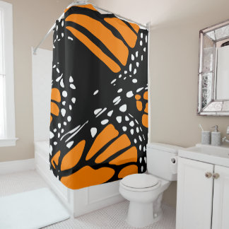 Abstrakter Entwurf eines Monarch-Schmetterlinges Duschvorhang