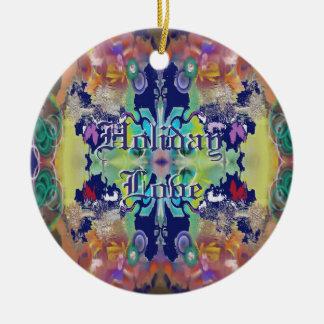 Abstrakter Entwurf in der Purpur-Feiertags-Liebe Rundes Keramik Ornament