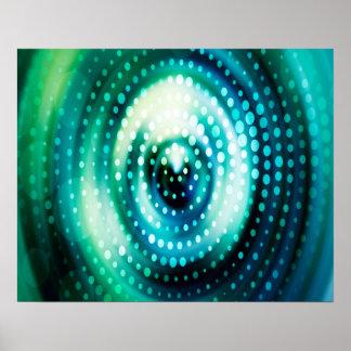 Abstrakter Entwurfs-grüne u. weiße konzentrische Poster