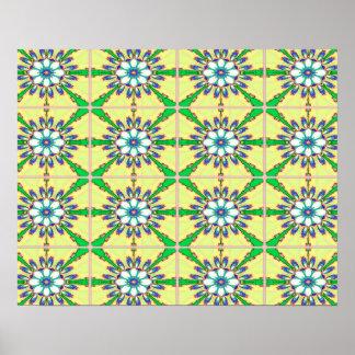 Abstrakter Entwurfs-nahtloses Grün, Gelb und Weiß Poster
