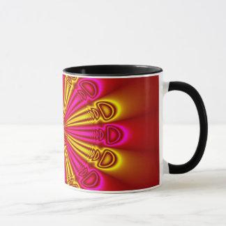 Abstrakter Entwurfs-rosa und gelbe Strahlen Tasse