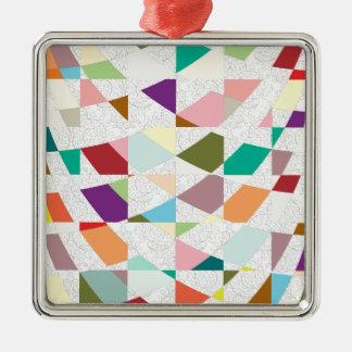 Abstrakter Farbdamast Silbernes Ornament
