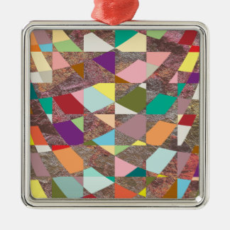 Abstrakter FarbGlitter Quadratisches Silberfarbenes Ornament