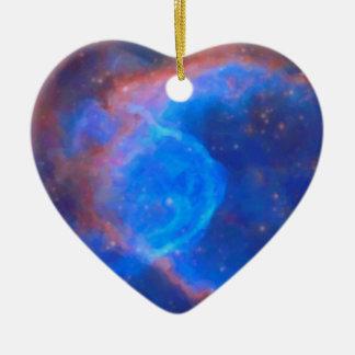 Abstrakter galaktischer Nebelfleck mit kosmischer Keramik Herz-Ornament