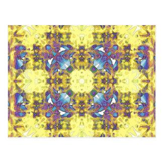 Abstrakter gelber lila Mandala Postkarte