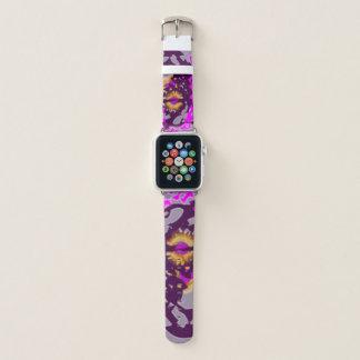 Abstrakter goldener Sun in rosa und in Lila Apple Watch Armband