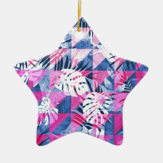 Abstrakter heißes Rosa-geometrischer tropischer Keramik Ornament