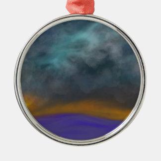 Abstrakter Himmel Rundes Silberfarbenes Ornament