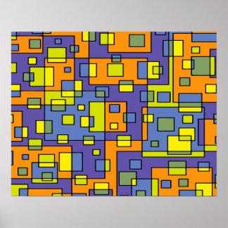 Abstrakter Hintergrund-blaues Gelbes und grün Poster