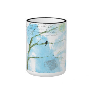 Abstrakter Kunst-Schwarz-Vogel in den Baum-Briefen Tasse