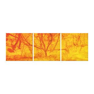 Abstrakter Kunstfeuer-Sonnenuntergangbaum Leinwanddruck