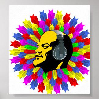 Abstrakter Lenin-Kopf im Stern-Kreis Plakate