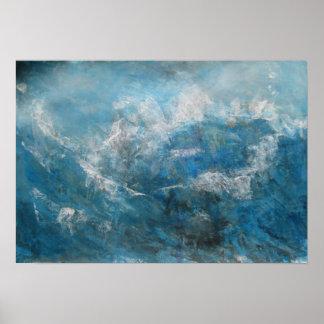 Abstrakter Meerblick - Sturm in Meer Poster