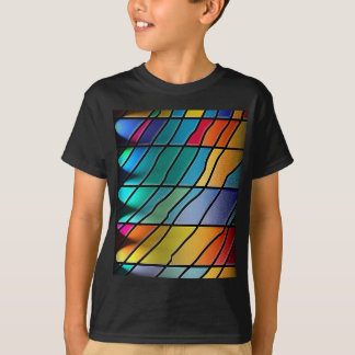 Abstrakter Metallblatt-Regenbogen rostiges antikes T-Shirt