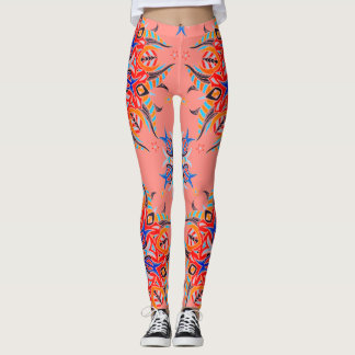 Abstrakter Muster-Entwurf (Lachse) Leggings