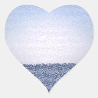 Abstrakter Ozean Herz-Aufkleber