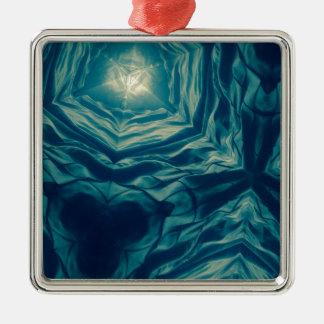 Abstrakter Ozean-Traum Quadratisches Silberfarbenes Ornament