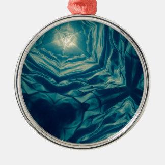 Abstrakter Ozean-Traum Rundes Silberfarbenes Ornament