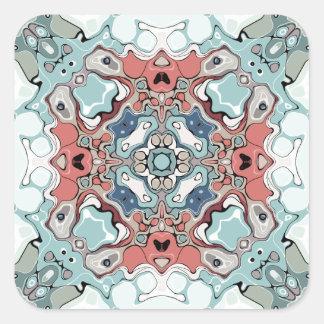 Abstrakter PastellMandala Quadratischer Aufkleber