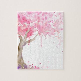Abstrakter rosa Baum des Watercolor, Kirschbaum Puzzle