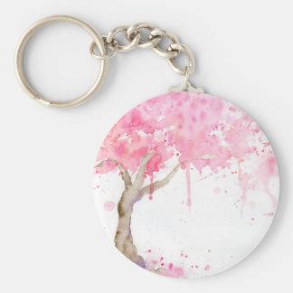Abstrakter rosa Baum des Watercolor, Kirschbaum Schlüsselanhänger