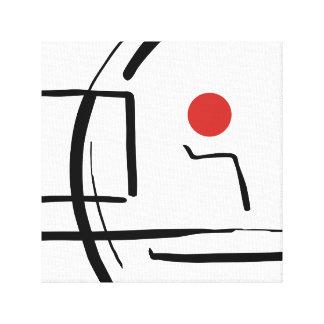 Abstrakter roter Ball u. Linien Zeichnen Leinwanddruck