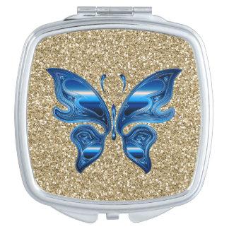Abstrakter Schmetterling auf GoldGlitter Taschenspiegel