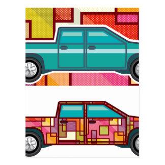 Abstrakter Shrink eingewickelter Lieferwagen-LKW Postkarte