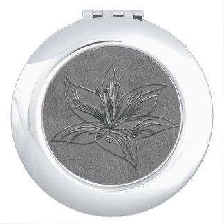 Abstrakter silberner Lilien-Verzierungs-Spiegel Schminkspiegel