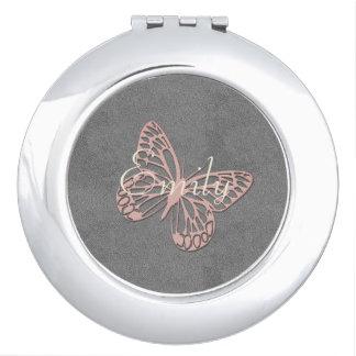 Abstrakter silberner rosa Schmetterling addieren Taschenspiegel