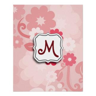 Abstrakter Strudel-Blumenrosa mit Monogramm Poster