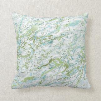 Abstrakter tadelloser grün-blauer weißer kissen