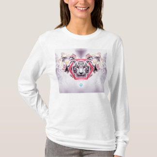 Abstrakter Tiger im geometrischen Hexagon T-Shirt